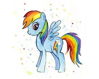 Little Pony Rainbow Dash Watercolor, Rainbow Dash Art, Rainbow Dash Print, Nursery Decor, Giclee Art Print, MLP Rainbow Wall Decor