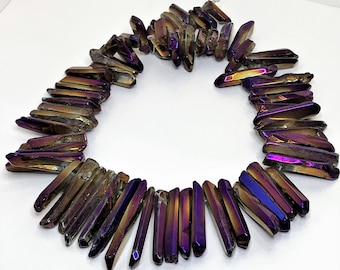 Purple and Gold Titanium Quartz Points Crystal Point Beads Top Drilled Raw Quartz Crystal Stick Beads Multicolour Stones LynnsGemSupplies