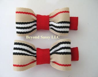 Back To School Holiday Christmas Mini Hair Bow Clips Tan Red Black Stripe Clippies