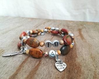 "Bracelet memo / breastfeeding/bottle/medication... ""Original"" gemstones (Jasper), 3 in 1 with pouch, Ti Memento"