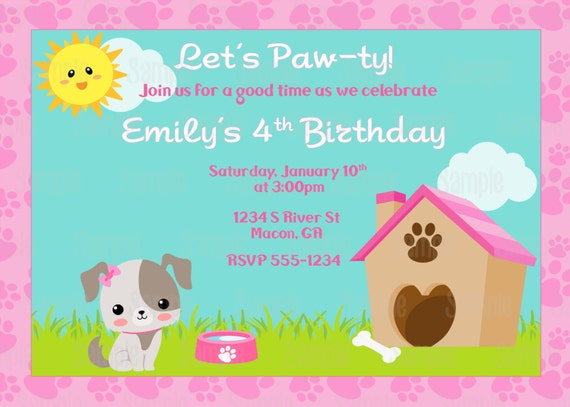 Printable puppy dog birthday party invitation plus free blank like this item filmwisefo Choice Image