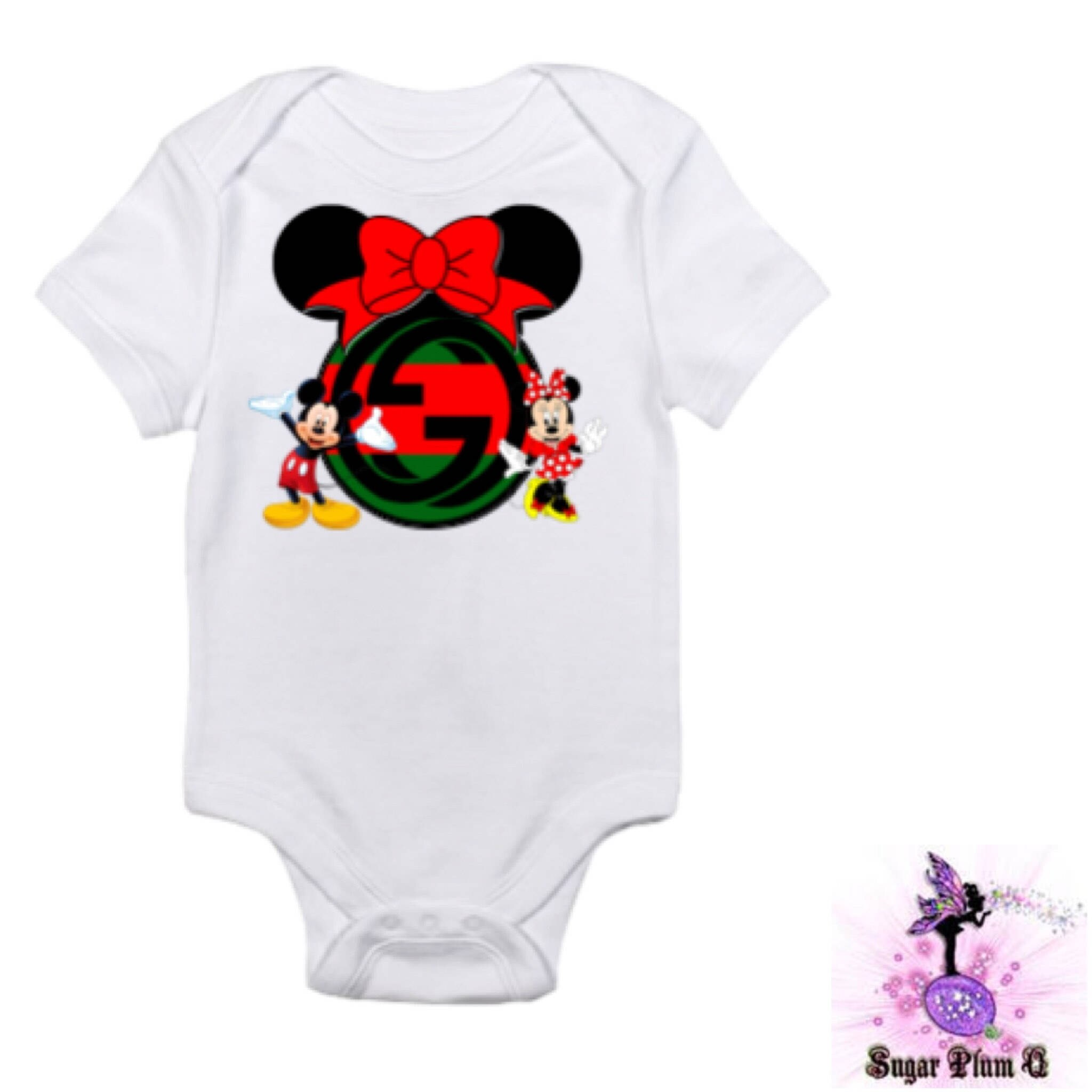 Red and Green Mickey Mouse and Minnie Mouse Baby esie