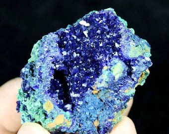 Beautiful Blue Azurite on Green Malachite CM682754 from Liufengshan Anhui China