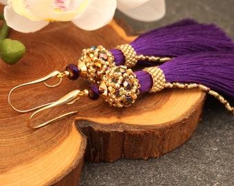 Ultra violet tassel earrings Long silk tassel earrings Dark purple tassel earrings Violet boho earrings Purple boho earrings Gift for her