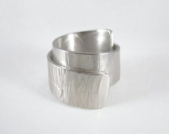 Sterling silver rolled up ring