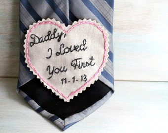 Father of the Bride. Hand Embroidered Tie Patch. Father of the Bride Gift. Tie Patch. Father of the Bride Gifts. Necktie. Wedding.