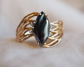 RESERVED FOR GINA - Please do not purchase - Showstopping vintage 10K yellow gold marquise Alaskan Diamond (hematite) statement ring