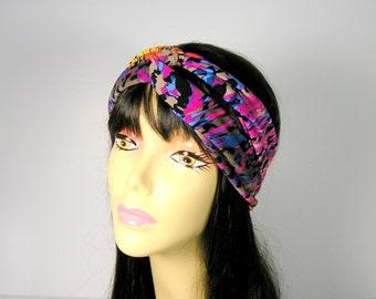 Twisted Turban Headband Head Wrap Yoga Head Wraps Head Scarves Hair Scarves Turbans Lycra Head Wraps Print Head Wraps Workout Headbands