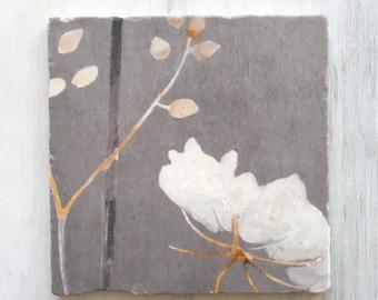 Trivet:  Big White Flower on Medium Grey