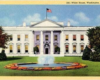 White House Washington D.C. Vintage Postcard (unused)