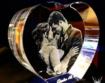 Laser Crystal Personalized Engraving,  3D Crystal Heart, Laser Etched Picture in Glass by The Black Symbol