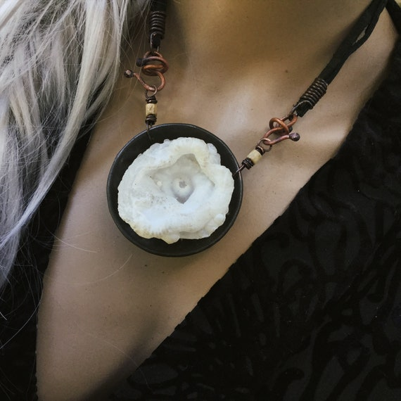 Organic raw stone necklace | unique statement artisan piece