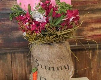 Bunny Bait Burlap Bag with Bunny Ears.  Carrots. Housewarming. Country. Handmade.Cottage Chic.Spring. Shelf Setter. Burlap Floral
