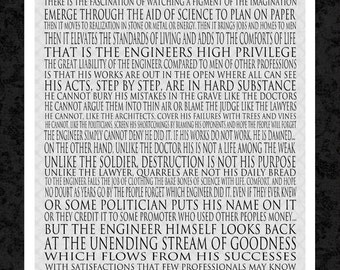 Engineering - Herbert Hoover - 16x20 Gallery Wrapped Canvas - word art print - Motivational Art Print - man, dad, father