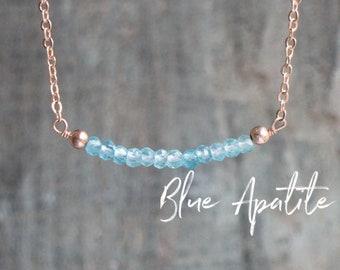 Blue Apatite Bar Necklace