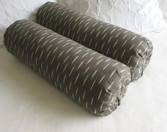 PAIR ikat Graphite and Oatmeal Bolster lumbar decorative  Pillow 7x22