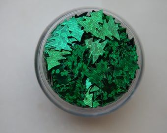 Green Iridescent Christmas Tree Glitters. 5 grams