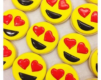 Heart Eyes Emoji Sugar Cookies
