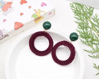 Hemp Knitted Handmade Resin Earrings, Hoop Earrings, Beautiful Gift