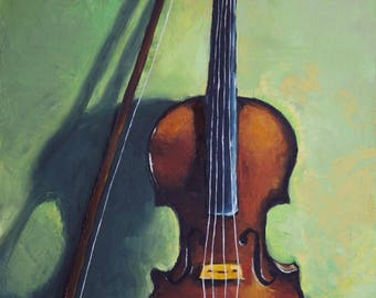 Full painting Print of violin, violin painting, violinist, violin art, instruments, musical instruments, violin oil painting, oil painting