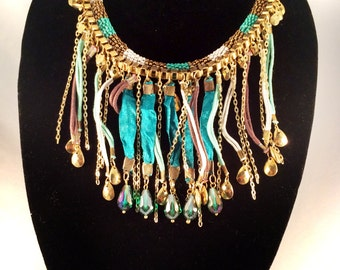 turquoise gold tassel Necklace ,turquoiseFringe Necklace,Modern Jewellery,Teal and Green Chord necklace by Taneesi