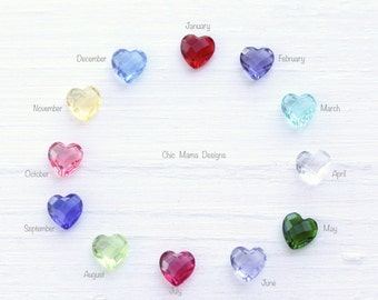 Add a heart birthstone to your locket, Floating locket charms, Faceted Swiss Heart Birthstones for locket, Floating Charms