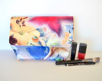 Toiletry bag, Mothers's Day, Satin padded floral cosmetic case, Lilium pouch,