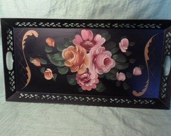"Toleware rectangular vintage black and pink floral tray / Larger 24"" Tole Metal Tray"