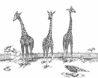 "Giraffe Print-Giraffe Giclee Print-Giraffe Art-Wall Art-Wall Decor- 8"" x 10"""