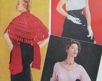 1950's 3 Vintage Crochet Patterns pdf Women's Shawl, Sweater, and Top S385, C162, S386
