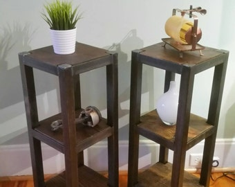 Handmade Metal And Wood 3 Shelf Plant Stand, Side Table, Nightstand (single  Table