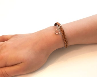 Braided Leather Bracelet w/Horseshoe Charm