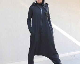 Jumpsuit, overalls, black jumpsuit, long sleeves, gift idea, harem jumpsuit, union suit, jumpsuit with hoodie, loose jumpsuit, drop crotch