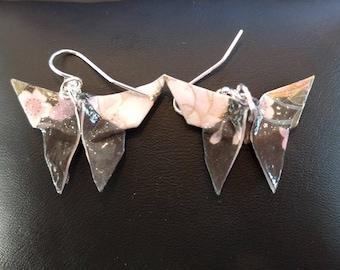 Pendientes de mariposa de origami