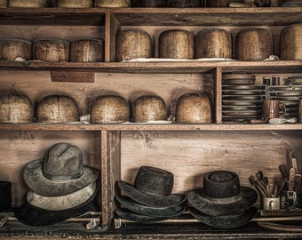 Hats and Things on shelves of a 19th Century Hatters Shop, Hat Molds and Tools, Old World Vintage Styled Photograph, signed.