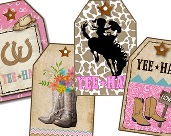 Digital Cowgirl Tags, Cowgirl birthday Tags, Printable Gift Tags, Western Cards, Yee Haw, cowgirl boots, Pink Birthday Party tags, Digital