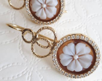 Sardonic and cubic zirconia cameo earrings, silver earrings, Italian jewellery