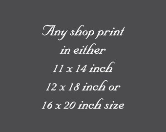 ANY PRINT in  11x14 inch - 12x18 inch or 16x20 inch size