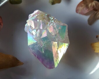 Angel Aura Spirit Quartz - Rainbow Aura Spirit Quartz Crystal - Iridescent Aura Spirit Quartz - Angel Aura Cactus Quartz Fairy Quartz Point