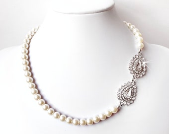 Necklace - Pear Crystal Necklace in Silver - Ivory White - Vintage Style Statement Bridal Necklace - Asymmetrical Rhinestone Bridal Necklace