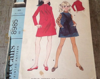Vintage McCall's Sewing Pattern 8985 Girls' Dress or Jumper and Blouse Size 7