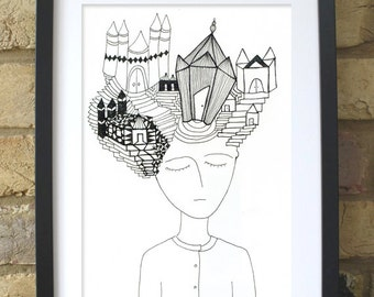 Original artwork, Handmade drawing, One of a kind, Illustration, wall decor, Black and White. Architecture of the mind.