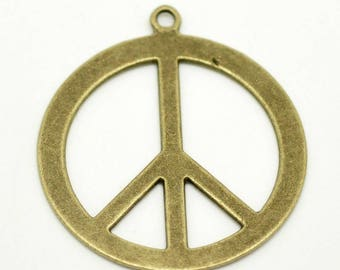 Great brand of peace charm pendant Bronze 44x40mm