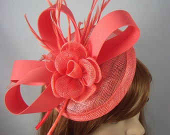 Coral Pink Satin Bow Sinamay Disc Fascinator - Occasion Wedding Races Hat