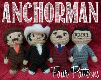 Four Anchorman Amigurumi Crochet Pattern Bundle
