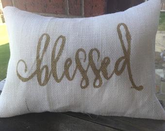 Cream Burlap Blessed Pillow Cover 12x16