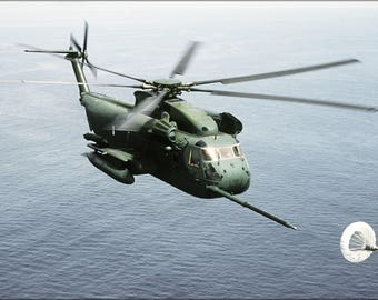 Poster, Many Sizes Available; Sikorsky Hh-53C Super Jolly Green Giant Helicopter Refuelling 1987
