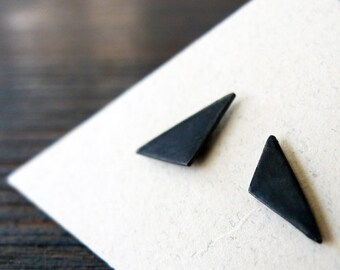 Black. Bizarre Love Triangle. Silver Triangle Stud Earrings. Unisex Man or Woman. Charcoal Silver Jewelry. Black  Asymmetric Pair. Handmade.