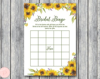 Sunflower Summer Bridal Shower Bingo, Printable Bridal Bingo, Gift Item Bingo, Bridal shower game activity, Printable Game TH80