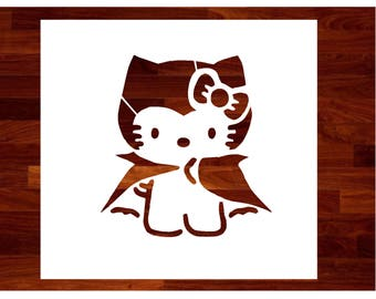 Hello Kitty and her Cape Halloween Stencil